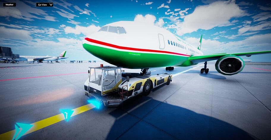 空側駕駛模擬-飛機拖車